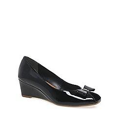 Van Dal - Black patent 'Grafton' Womens Peep Toe Wedges
