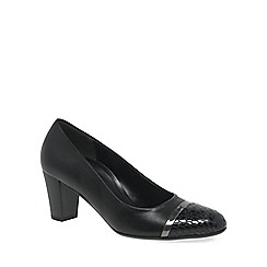 Gabor - Black 'Deal' Womens Patent Toe Modern Heeled Court Shoes