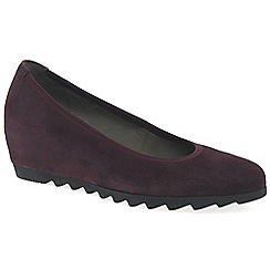 Gabor - Wine suede 'Request' Womens mid heeled wedge shoes