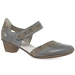 Rieker - Grey leather 'Taint' open court shoes