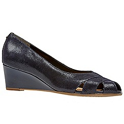 Van Dal - Navy leather 'Paxton' wedge peep toe shoes