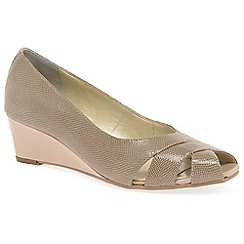 Van Dal - Beige leather 'Paxton' wedge peep toe shoes