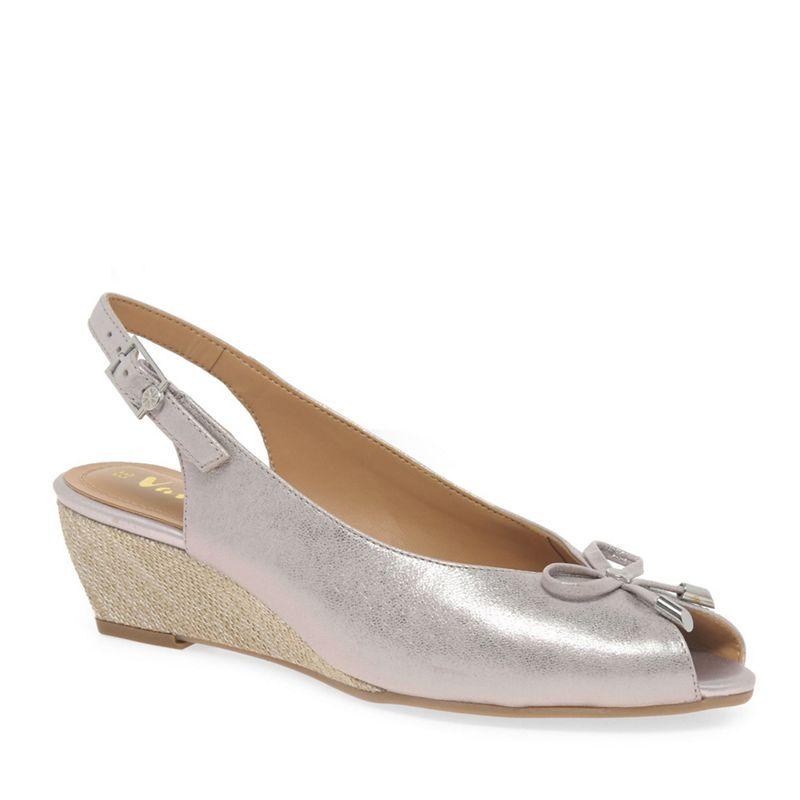 Van Dal Metallic leather 'Woodburn' sling back peep toe wedge shoes