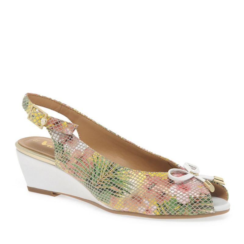Van Dal Multi Coloured leather 'Woodburn' sling back peep toe wedge shoes