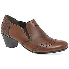 Rieker - Brown leather 'gabby' mid heel high cut court shoes