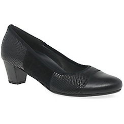 Gabor - Black leather 'Symbol' mid heeled court shoes
