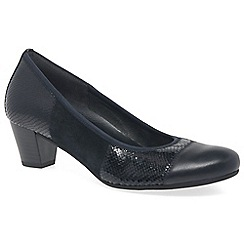 Gabor - Dark blue leather 'Symbol' mid heeled court shoes