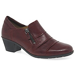 Gabor - Dark red leather 'sherbert' high cut medium heeled court shoes