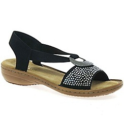 Rieker - Black 'Crystal' womens casual sandals