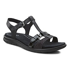 Ecco - Near black 'Babett' womens buckle leather sandals