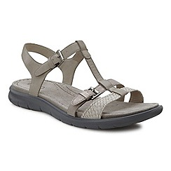 Ecco - Grey 'Babett' womens buckle leather sandals