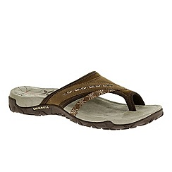 Merrell - Brown 'Terran Post' womens nubuck earth sandals