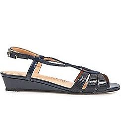 Van Dal - Navy 'Alva' womens low wedge sandals