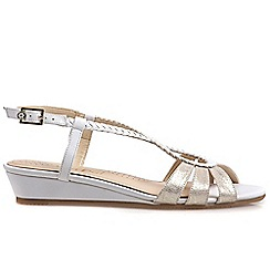 Van Dal - White 'Alva' womens low wedge sandals