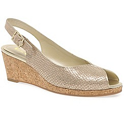 Van Dal - Gold 'Gable' Womens Slingback Wedges