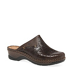 Josef Seibel - Dark brown 'Cerys' womens leather clogs