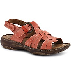 Josef Seibel - Peach 'debra' womens leather t-strap sandals