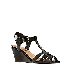 Van Dal - Black patent Temple Womens Wedge Sandals
