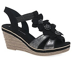 Marco Tozzi - Black 'Lutu' Womens Wedge Heel Sandals