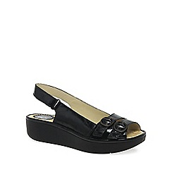 Fly London - Black patent 'Jobe' Womens Casual Sandals