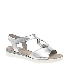 Gabor - Silver leather 'Ellis' flat sandals