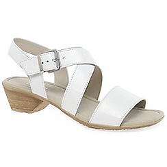 Gabor - White leather 'Jenya' low casual sandals