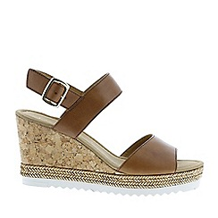 Gabor - Brown leather 'Wicket' wedge sandals