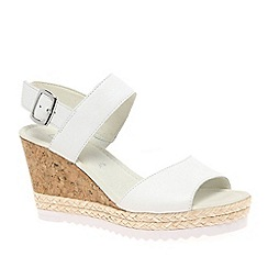 Gabor - White leather 'Wicket' wedge sandals