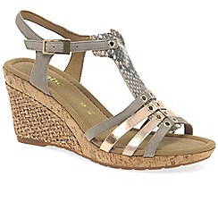 Gabor - Beige leather 'Iris' high wedge sandals