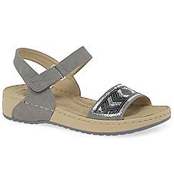 Rieker - Grey 'Strobe' riptape mid heel sandals