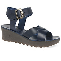 Fly London - Navy 'Yeri' womens casual wedge heel sandals