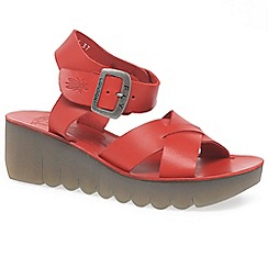Fly London - Red 'Yeri' womens casual wedge heel sandals