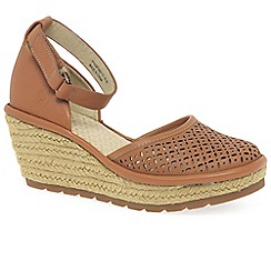 Fly London - Tan leather 'Etic' high heeled espadrilles