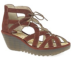 Fly London - Red brick leather 'Yeli' high wedge sandals