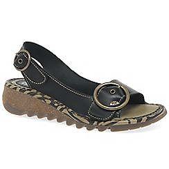 Fly London - Black 'Tram' womens casual sandals