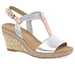 Gabor - Silver leather 'Jess' medium wedge sandals