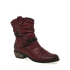 Rieker - Maroon 'Ranch' ladies ankle boot