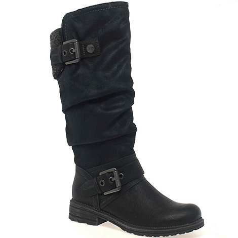 Marco Tozzi - Black +olive+ womens long zip fastening boots