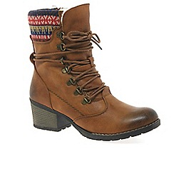 Rieker - Tan 'Eagle' womens rib-knit cuff boots