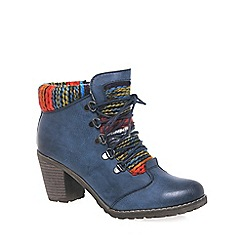 Rieker - Navy 'Caledonia' womens lace up ankle boots