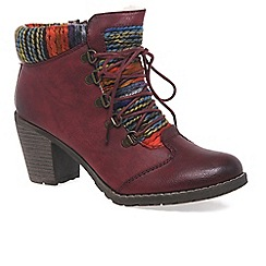 Rieker - Wine 'Caledonia' womens lace up ankle boots