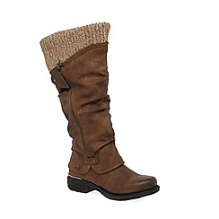 Rieker - Brown 'Knit' Ladies Long Water-Resistant Boots