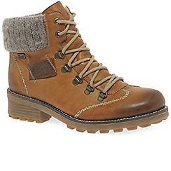 Rieker - Tan 'Wool' Ladies Water-Resistant Lace Up Ankle Boots