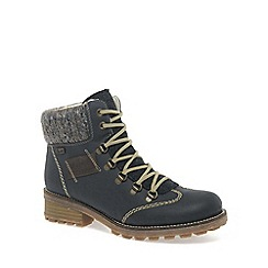 Rieker - Blue 'Wool' Ladies Water-Resistant Lace Up Ankle Boots