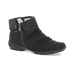 Rieker - Black 'Ripple' Ladies Warm Lined Ankle Boots