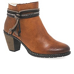 Rieker - Tan 'Wrap' Womens Casual Ankle Boots