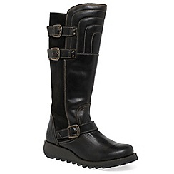 Fly London - Dark brown 'Sher' womens long boots