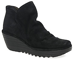 Fly London - Black 'Yip' womens wedge heel ankle boots