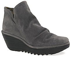 Fly London - Grey 'Yip' womens wedge heel ankle boots