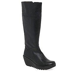 Fly London - Black 'Yura' womens wedge heel long boots